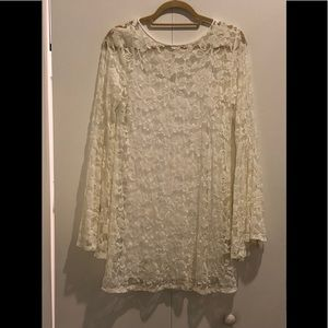Abrecrombie & Fitch Cream Lace Longsleeve Dress
